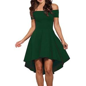Olive Off Shoulder Asymmetrical Hem Dress